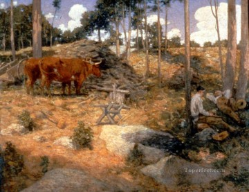 Julian Alden Weir Painting - Noonday Rest In New England Julian Alden Weir